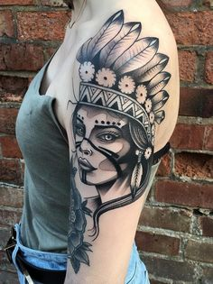 Native American Tattoo - like the headdress.  Maybe get roses instead of Daisy's