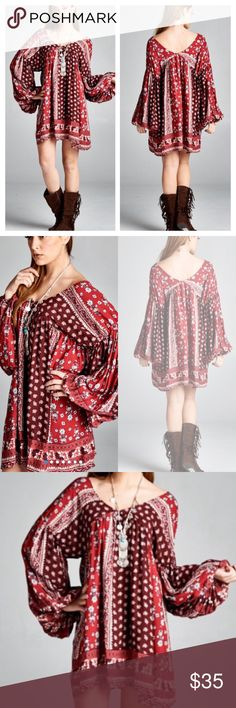 """BOHO DOUBLE V-NECK DRESS/TUNIC Pretty boho print in maroons and reds. Elastic cuff, long sleeve. Polyester/rayon blend.                                   ♦️1X: bust 46"""" hips 66"""" length 36""""                             ♦️2X: bust 48"""" hips 67""""length 36""""                                   ♦️3X: bust 50"""" hips 68"""" length 36"""" tla2 Dresses Mini"""
