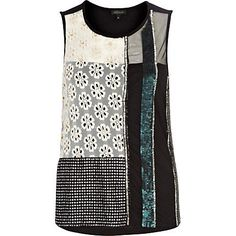 Black embellished mixed panel shell top - going out tops - tops - women
