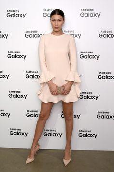 "sophiebstyle: ""Samsung Galaxy 56 Edge Launch // August 12, 2015 Who: Bella Hadid Wearing: Jill Stuart Fall 2015 dress, Aquazurra pumps """