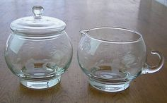 Princess House Crystal Heritage Stackable Covered Sugar & Creamer. Have these. Use the sugar bow levy day.