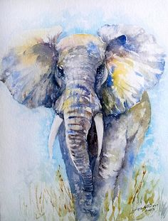 Elephant Blues Art Print by Arti Chauhan. All prints are professionally printed, packaged, and shipped within 3 - 4 business days. Choose from multiple sizes and hundreds of frame and mat options. Indian Paintings, Animal Paintings, Elephant Paintings, Art Paintings, Abstract Paintings, Elephant Drawings, Elephant Artwork, Watercolor Animals, Watercolor Paintings