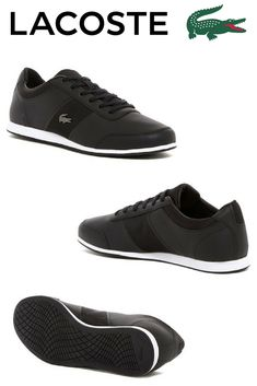 Lacoste Embrun 2162 Sneaker - Metallic croc hardware adds signature refinement to a retro, athletically inspired low-top sneaker featuring sleek mesh side panels and a comfort-centric OrthoLite(R) insole.