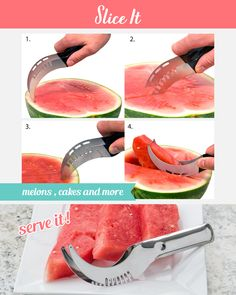 The Melon Slicer is an All-In-One tool that perfectly combines the functionality of a knife as well as the handiness of the tongs - you can Slice & Grab all at the same time with the same tool!