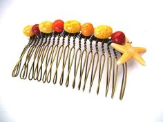 Bronze Hair Comb with Resin Light Yellow by TerriJeansAdornments
