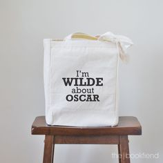 I'm wilde about oscar canvas book tote bag by BookFiend on Etsy Book Jewelry, Couple Jewelry, I Love Jewelry, Oscar Wilde, I Love Books, My Books, Bag Quotes, Gadgets, Book Lovers Gifts