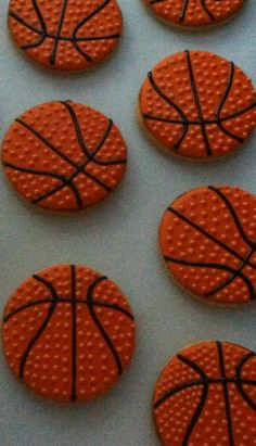 """Details MAKE a decorator! And a cookie!! Dots on these took maybe an extra 30-45 seconds. They really make the cookies """"pop""""! Basketball decorated cookies."""