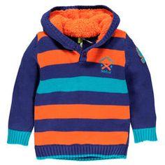 Jersey con capucha forrada de punto de tela sherpa  Main Baby Boy Knitting, Knit Baby Sweaters, Sweater Knitting Patterns, Striped Knit, Baby Boy Outfits, Boy Fashion, Pullover, Hoodies, Crochet