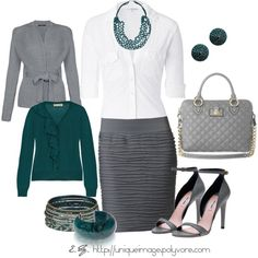 """""""Gray & Turquoise"""" by uniqueimage on Polyvore"""