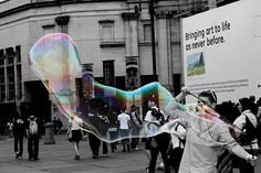 Making bubbles into art- rainbow coloursplash