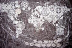 Maurizio Anzeri, Crochet Map  110x150 cm  Thread and mix media  2008 #map