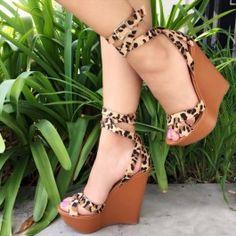 Leopard Ankle Strap Platform Wedges Faux Suede $22.79