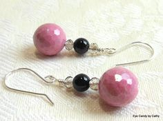 Pink and black earrings, argentium sterling silver wires, rhodonite and black onyx earrings with crystals, made to match necklace by #EyeCandybyCathy on Etsy