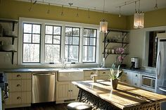 Kitchen Design & Cabinets for Mountain House- - J. Custom Kitchens, Home Kitchens, Kitchen Cabinet Design, Kitchen Cabinets, White Subway Tiles, Custom Cabinets, Open Shelving, Kitchen Furniture, Countertops
