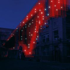 A sea of red LED strip lights will be suspended above Clerkenwell's Bleeding Heart Yard for Bleed. The installation responds to human interaction. When a visitor places their fingertip on the sensor, the lights react to their heartbeat – flashing on and off at the same rate.