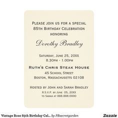 Vintage Rose 85th Birthday Celebration Custom 5x7 Paper Invitation Card