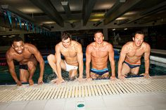 U.S. olympic swimmers Nathan Adrian, Brendan Hansen, Cullen Jones, and Ryan Lochte