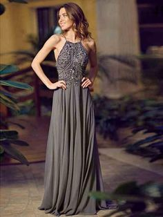 New Arrival Sexy Halter Neckline Sleeveless Long Evening Dress Beaded Chiffon Grey A-line Sweep Train Backless Prom Party Dresses Gowns 2014