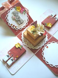 Made by Monia: exploding box Magic Box, Explosion Box Tutorial, Exploding Gift Box, Card In A Box, Scrapbook Box, Anniversary Gifts For Him, Pop Up Cards, Diy Cards, Cardmaking