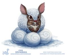 Daily Paint Snowball by Cryptid-Creations Not a Pun this time. But indeed beautiful creation. Cute Animal Drawings Kawaii, Kawaii Drawings, Kawaii Art, Cute Drawings, Cute Fantasy Creatures, Cute Creatures, Animal Puns, Cute Illustration, Illustration Animals