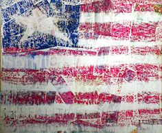 Jasper Johns encaustic flags.  Day 1 word collage form newspaper and magazines.  Day 2 color reverse flag on fine grit sandpaper, turn sandpaper over and iron.