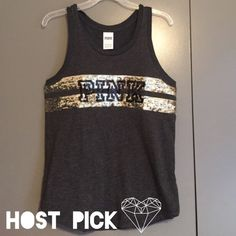 """PINK Victoria's Secret dark grey sequin tank Relaxed fit tank with silver and black sequins. Length: 28.5"""" 60% cotton and 40% polyester. Price firm unless bundled. PINK Victoria's Secret Tops Tank Tops"""
