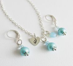 Personalized blue pearl jewelry set, flower girl jewelry, earrings with matching necklace