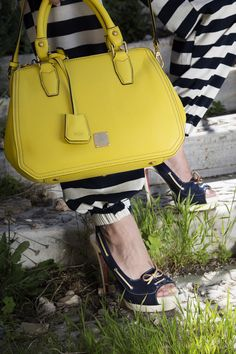 Homesies x MCM spring styling - Fashion Has It. Spring Collection, My Outfit, One Piece, Yellow, Bags, Inspiration, Style, Fashion, Handbags