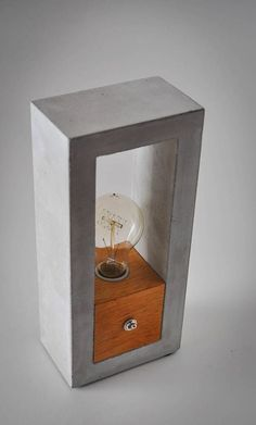 Handmade Home Decor Decor, Wood, Concrete Wood, Wood Diy, Wood Lamps, Table Lamp Wood, Wood Table Diy, Handmade Home Decor, Concrete Lamp