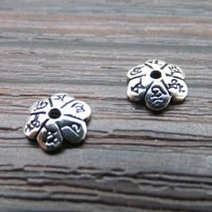 925 Sterling Silver Thai Silver Mantra Lettering Charm Bead Caps DIY Findings LFJ50