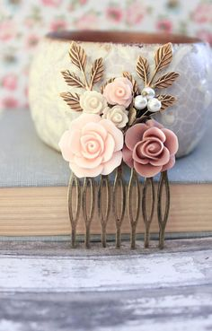 Wedding Hair Comb Dusty Pink Rose Comb Bridal by apocketofposies