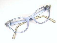 Vintage 50s Cat Eye Eyeglasses Frame Purple with Rhinestones
