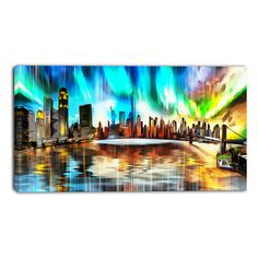 Design Art 'Colorful New York Cityscape' Canvas Art Print - 32x16 Inches