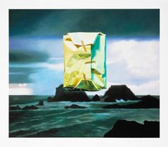 Flashlighted floated parcel in stormy ocean and sky | From a unique collection of figurative prints at https://www.1stdibs.com/art/prints-works-on-paper/figurative-prints-works-on-paper/