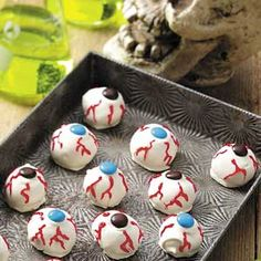 Scary Eyeballs Recipe from Taste of Home -- shared by Shannon Blatchley of Ludlow, Massachusetts  #Halloween