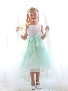 White/Mint Sleeveless Satin Bodice with Organza Layer Trim Skirt in Size 2-12 in 4 Colors