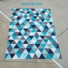 """I think I need a pinterest board called """"Triangle quilts."""" Of course I love the colors here."""