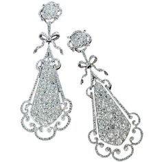 Edwardian Diamond Earrings at 1stdibs ❤ liked on Polyvore featuring jewelry, earrings, joias, edwardian earrings, diamond earrings, diamond jewelry, diamond earring jewelry and diamond jewellery