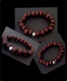 Elasticated wooden beaded wristband with silver tibet tube spacer bead in the middle