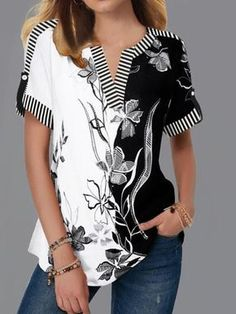 Roll Tab Sleeve Split Neck Flower Print Blouse Women Clothes For Cheap, Collections, Styles Perfectly Fit You, Never Miss It! Stylish Tops For Girls, Trendy Tops For Women, Blouses For Women, Women's Blouses, Formal Blouses, Women Tunic, Formal Dresses, Printed Blouse, Short Sleeve Blouse