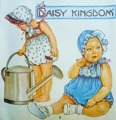 Vintage Baby Girl Bubble Suit Romper, Sunbonnet Hat Simplicity 8454 Sewing Pattern Daisy Kingdom Size NB, 1, 3, 6, 12, 18 Mos. UNCUT 1990s