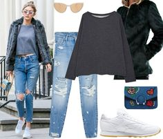 Favorita de la semana: Gigi Hadid. Grey sweatshirt+boyfriend jeans+white sneakers+black fur jacket+denim stickers clutch+eye cat sungasses. Winter Casual Outfit 2017