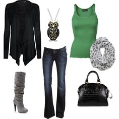 My Style, created by sedavis on Polyvore; like it better with flat gray boots though