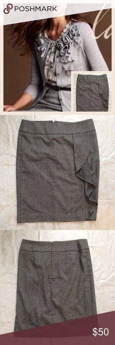 "Talbots Wool Ruffle Skirt A classic wool skirt from Talbots. Black/Gray/White herringbone tweed-like pattern. Cute ruffle detail with slight slit. Waist: 18"" length:24.5"" Talbots Skirts Midi"