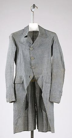 Coat (at the Metropolitan Museum of Art), 1790s, American, cotton; Length at CB: 38 in. (96.5 cm); Gift of The New York Historical Society, 1979. Accession Number: 1979.346.42