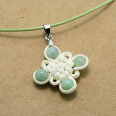 Chinese knot fiber pendant with jade beads Innocence by silvapang, $20.00