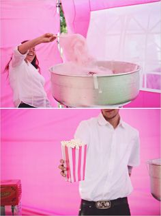 Popcorn bar  Cotton Candy (I can get a machine for around 100) (its pink) carnival wedding ideas
