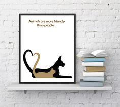Dog with cat print Kitten print Puppy print by InstantDownloadArt1