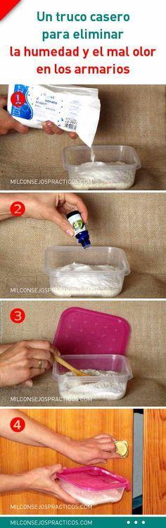 Un truco casero para eliminar la humedad y el mal olor en los armarios. ¡Fácil y barato! #humedad #malolor #armario #deshumidificador #hogar #ropa
