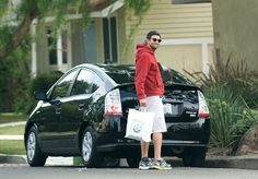 Bradley Cooper with his Toyota Prius